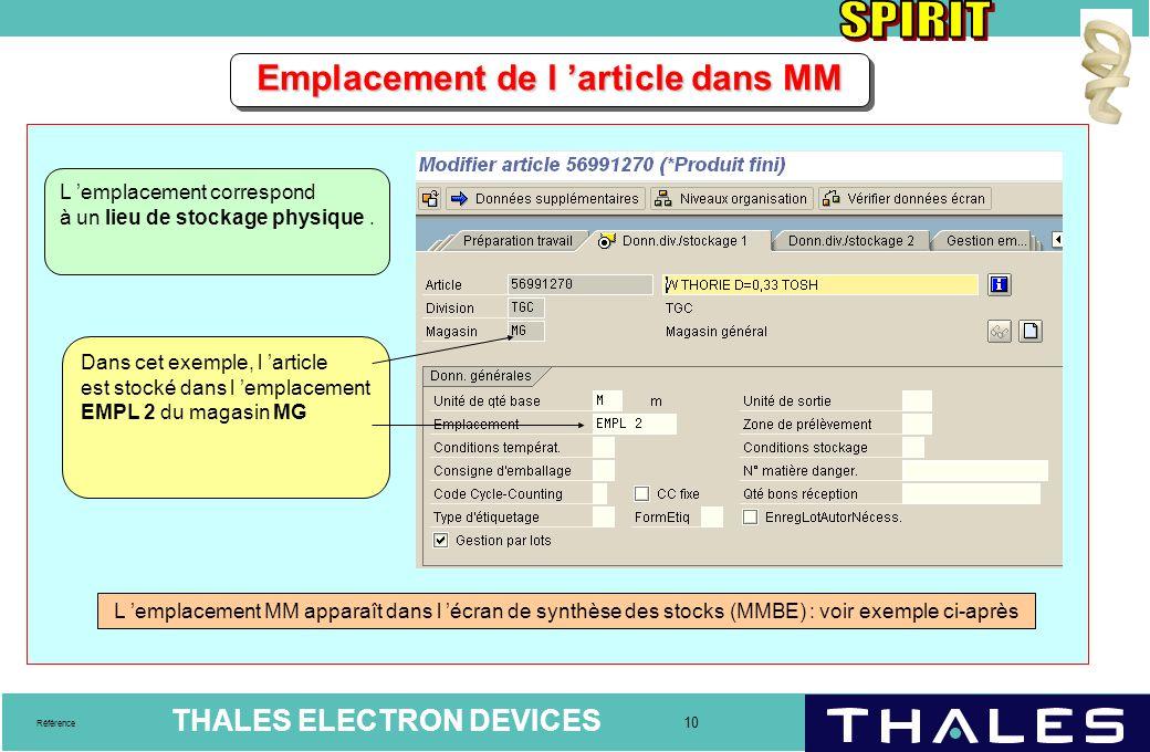 THALES ELECTRON DEVICES 10 Référence Emplacement de l 'article dans MM L 'emplacement correspond à un lieu de stockage physique. Dans cet exemple, l '