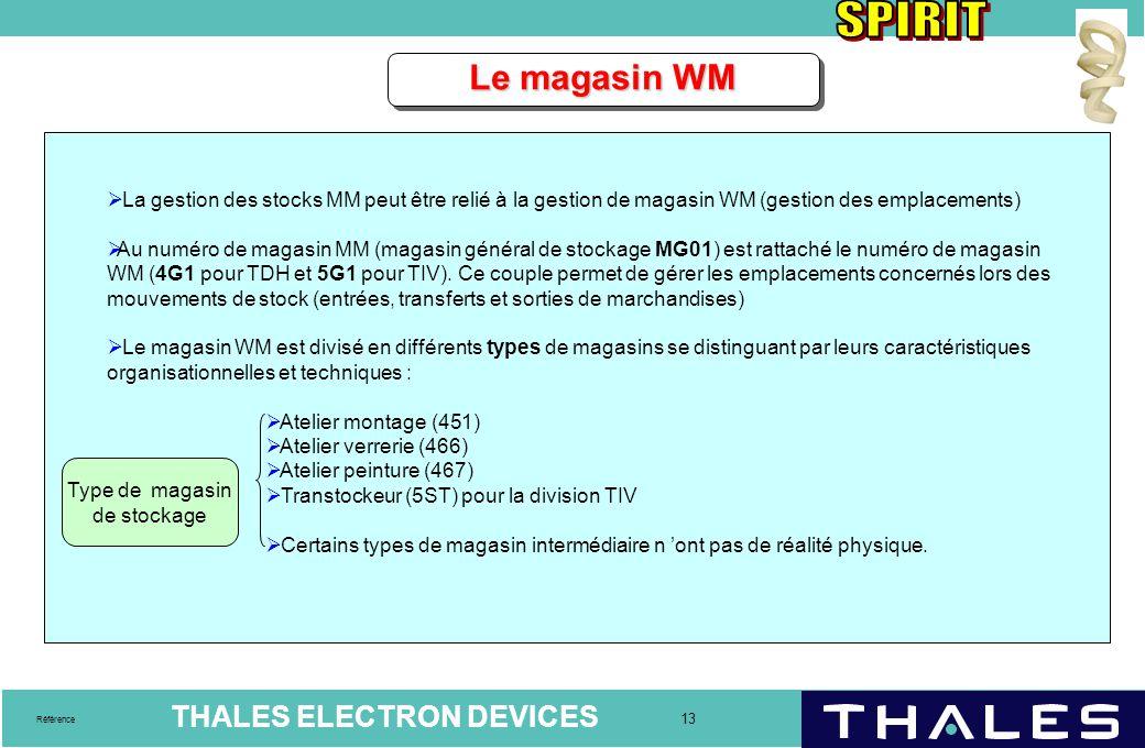 THALES ELECTRON DEVICES 13 Référence  La gestion des stocks MM peut être relié à la gestion de magasin WM (gestion des emplacements)  Au numéro de m