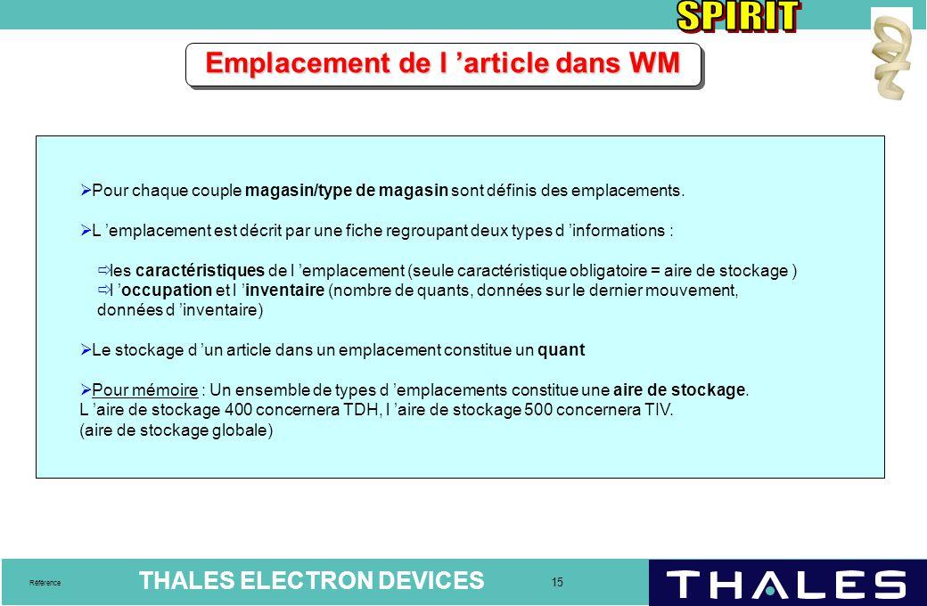 THALES ELECTRON DEVICES 15 Référence Emplacement de l 'article dans WM  Pour chaque couple magasin/type de magasin sont définis des emplacements.  L