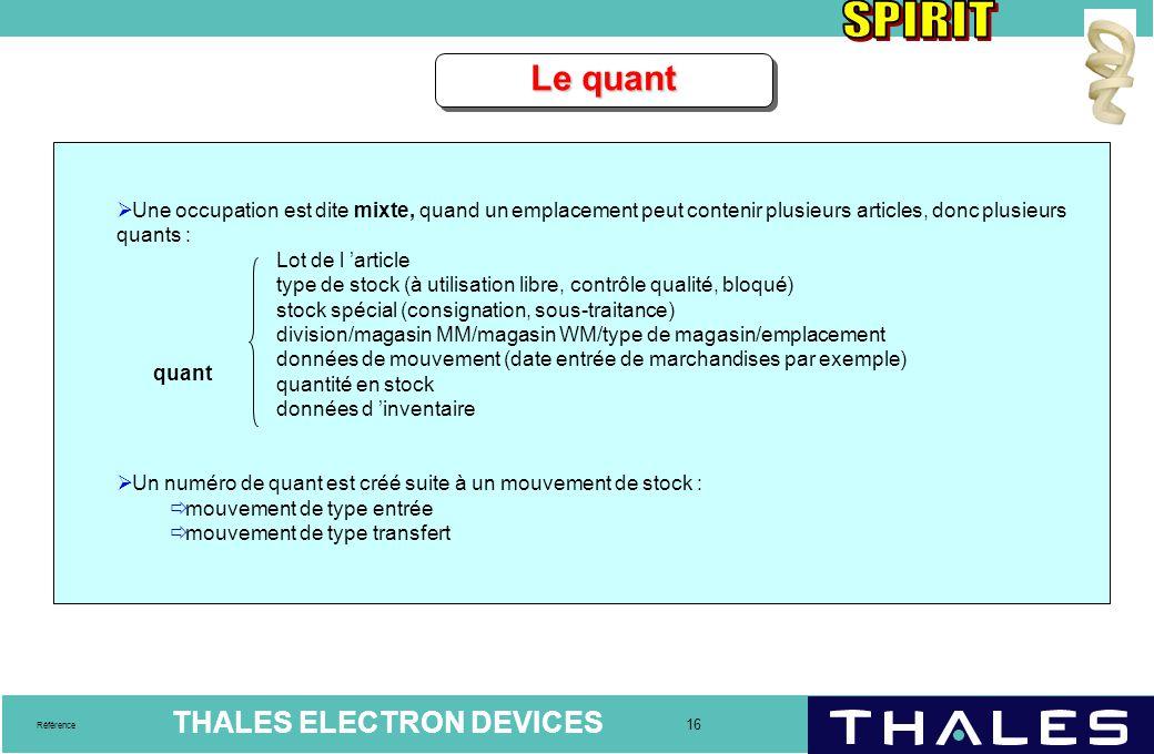THALES ELECTRON DEVICES 16 Référence Le quant  Une occupation est dite mixte, quand un emplacement peut contenir plusieurs articles, donc plusieurs q