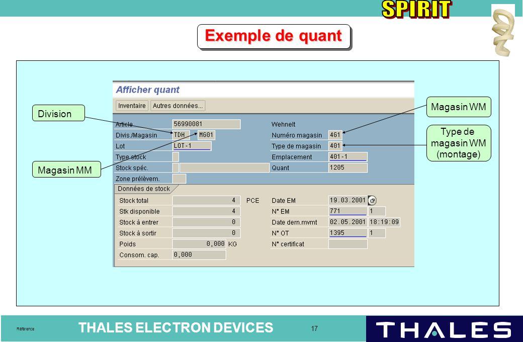 THALES ELECTRON DEVICES 17 Référence Exemple de quant Magasin MM Magasin WM Type de magasin WM (montage) Division