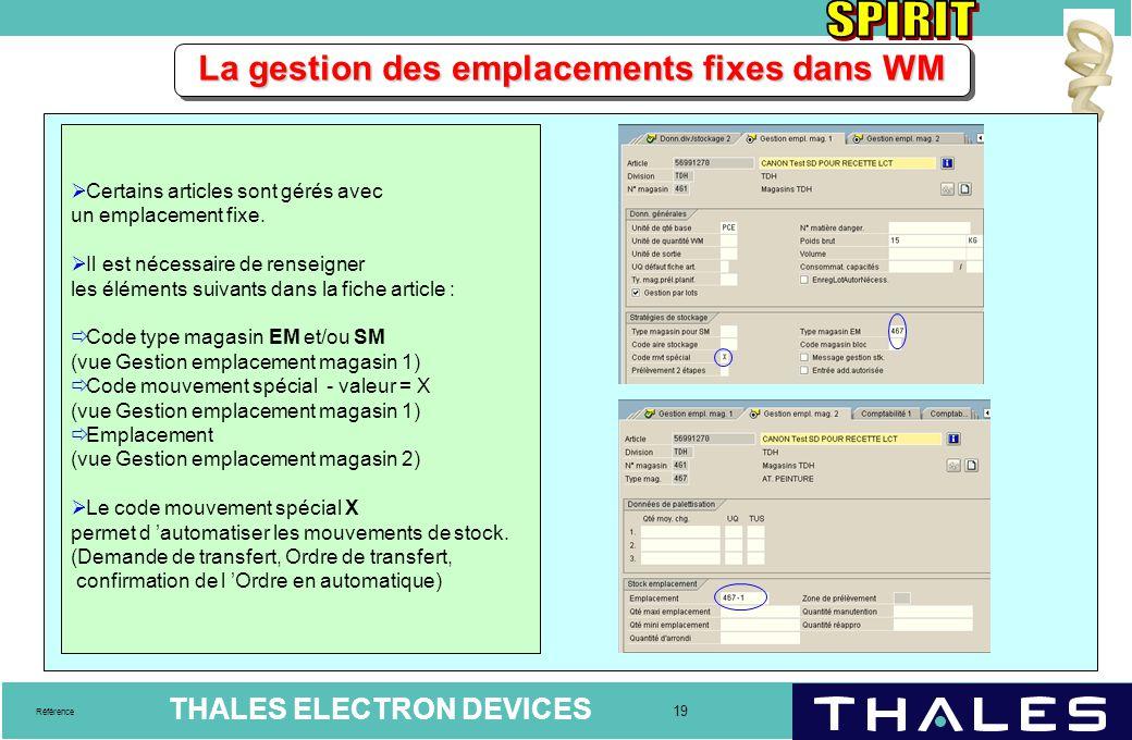 THALES ELECTRON DEVICES 19 Référence La gestion des emplacements fixes dans WM  Certains articles sont gérés avec un emplacement fixe.  Il est néces