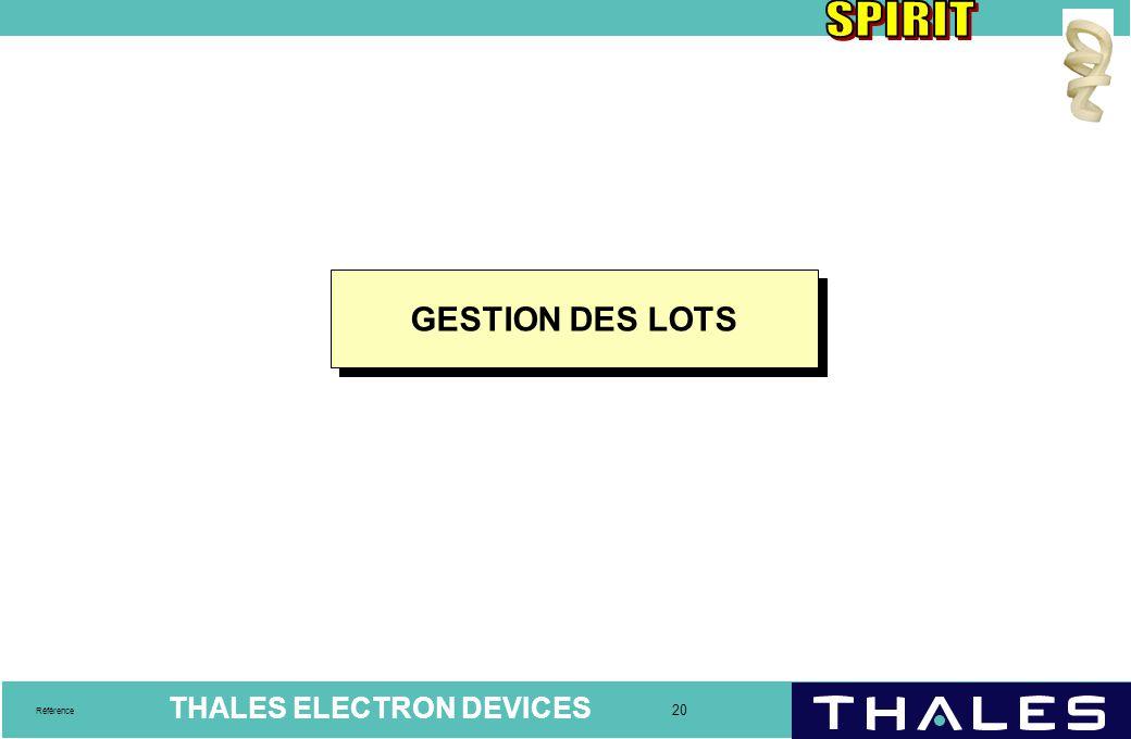 THALES ELECTRON DEVICES 20 Référence GESTION DES LOTS