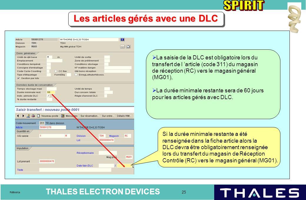 THALES ELECTRON DEVICES 25 Référence Les articles gérés avec une DLC  La saisie de la DLC est obligatoire lors du transfert de l 'article (code 311)