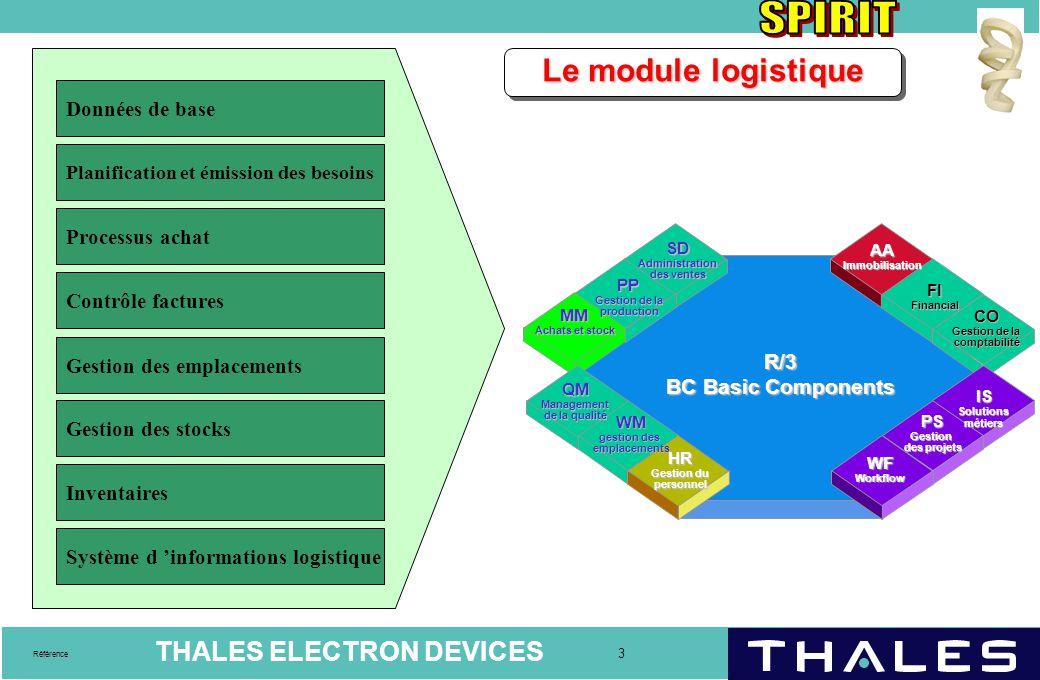 THALES ELECTRON DEVICES 4 Référence Les données de base logistiques de la fiche article