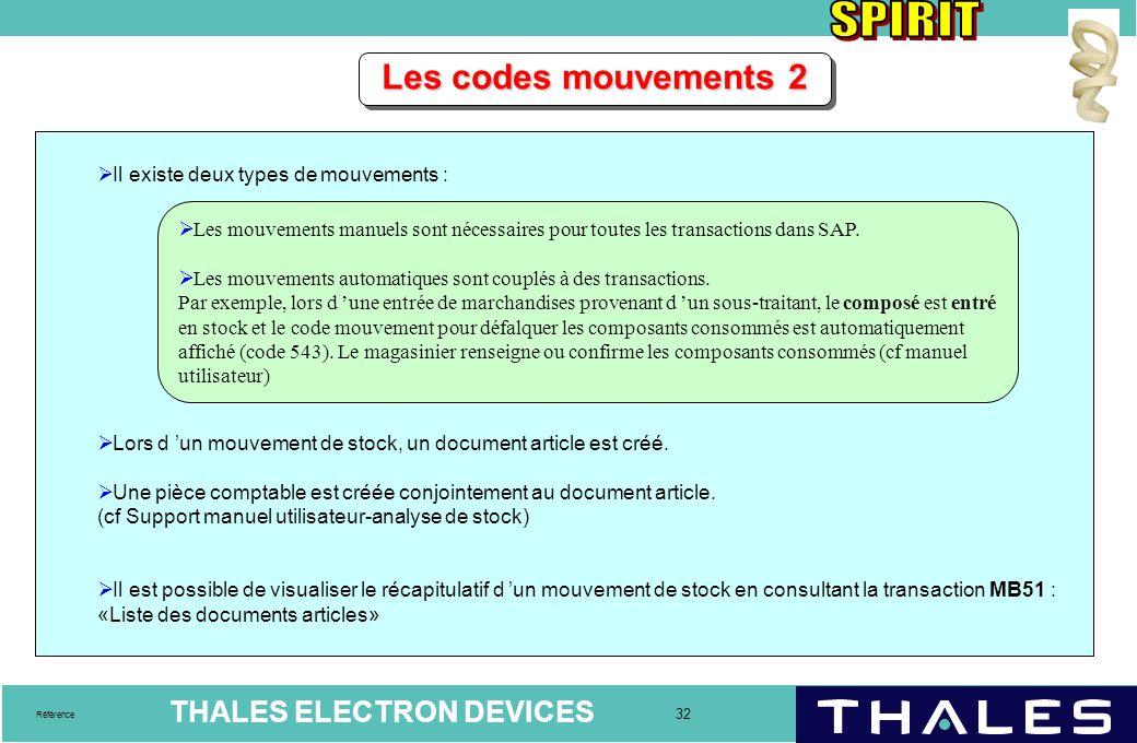THALES ELECTRON DEVICES 32 Référence Les codes mouvements 2  Il existe deux types de mouvements :  Lors d 'un mouvement de stock, un document articl
