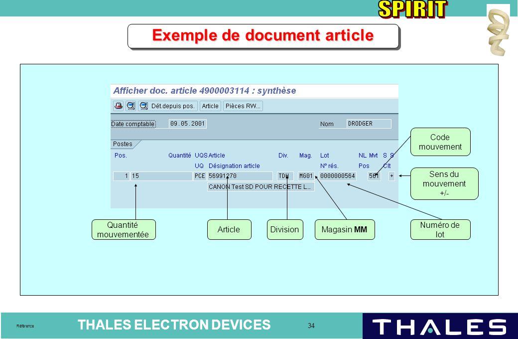 THALES ELECTRON DEVICES 34 Référence Exemple de document article Quantité mouvementée ArticleDivisionMagasin MM Numéro de lot Code mouvement Sens du m