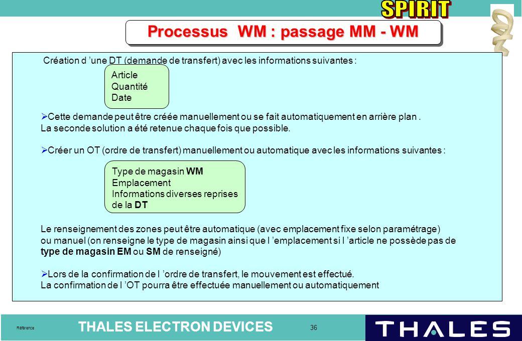 THALES ELECTRON DEVICES 36 Référence Processus WM : passage MM - WM Création d 'une DT (demande de transfert) avec les informations suivantes :  Cett