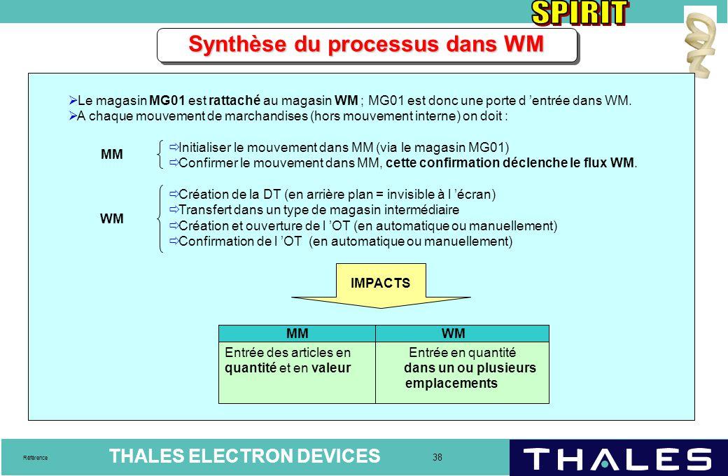 THALES ELECTRON DEVICES 38 Référence Synthèse du processus dans WM  Le magasin MG01 est rattaché au magasin WM ; MG01 est donc une porte d 'entrée da