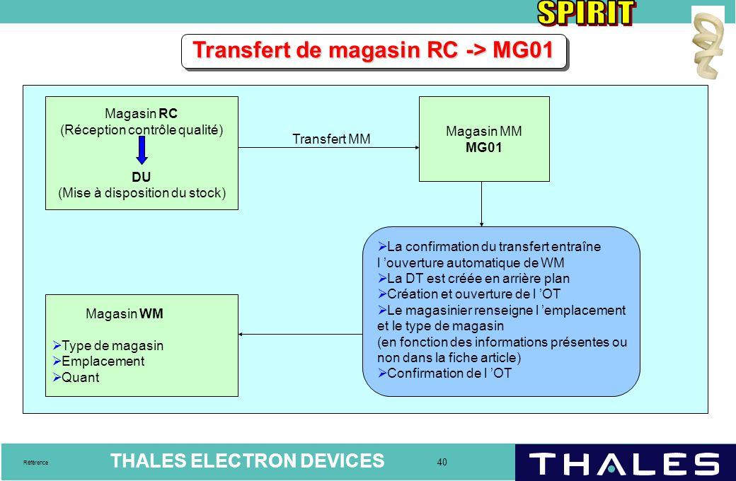 THALES ELECTRON DEVICES 40 Référence Transfert de magasin RC -> MG01 Magasin RC (Réception contrôle qualité) DU (Mise à disposition du stock) Magasin