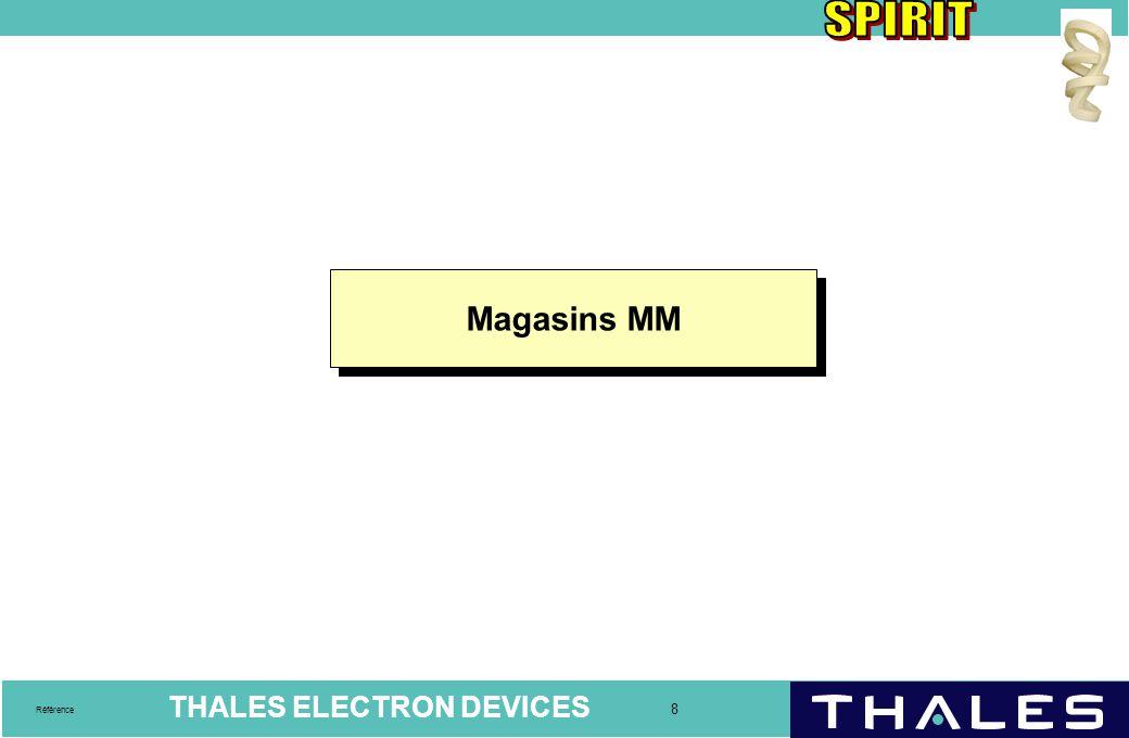 THALES ELECTRON DEVICES 9 Référence Le magasin MM  Un magasin MM est une structure physique destinée à la gestion des stocks.