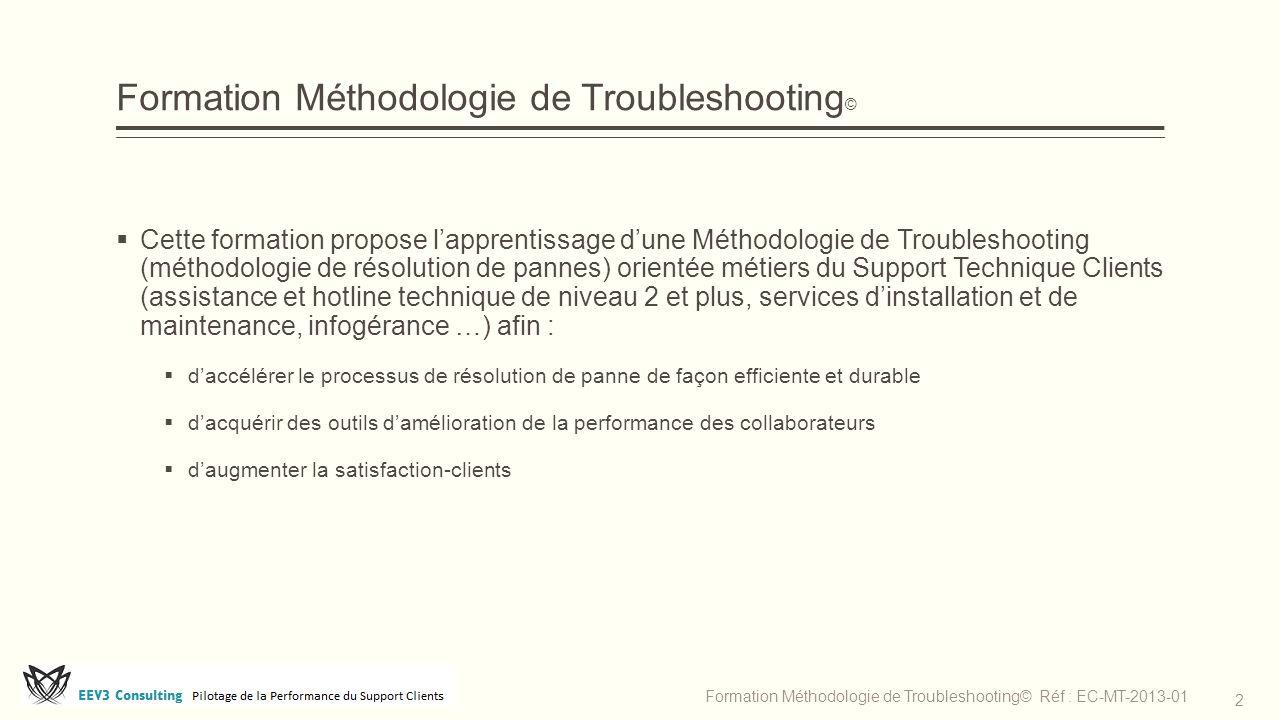 Formation Méthodologie de Troubleshooting ©  Cette formation propose l'apprentissage d'une Méthodologie de Troubleshooting (méthodologie de résolutio