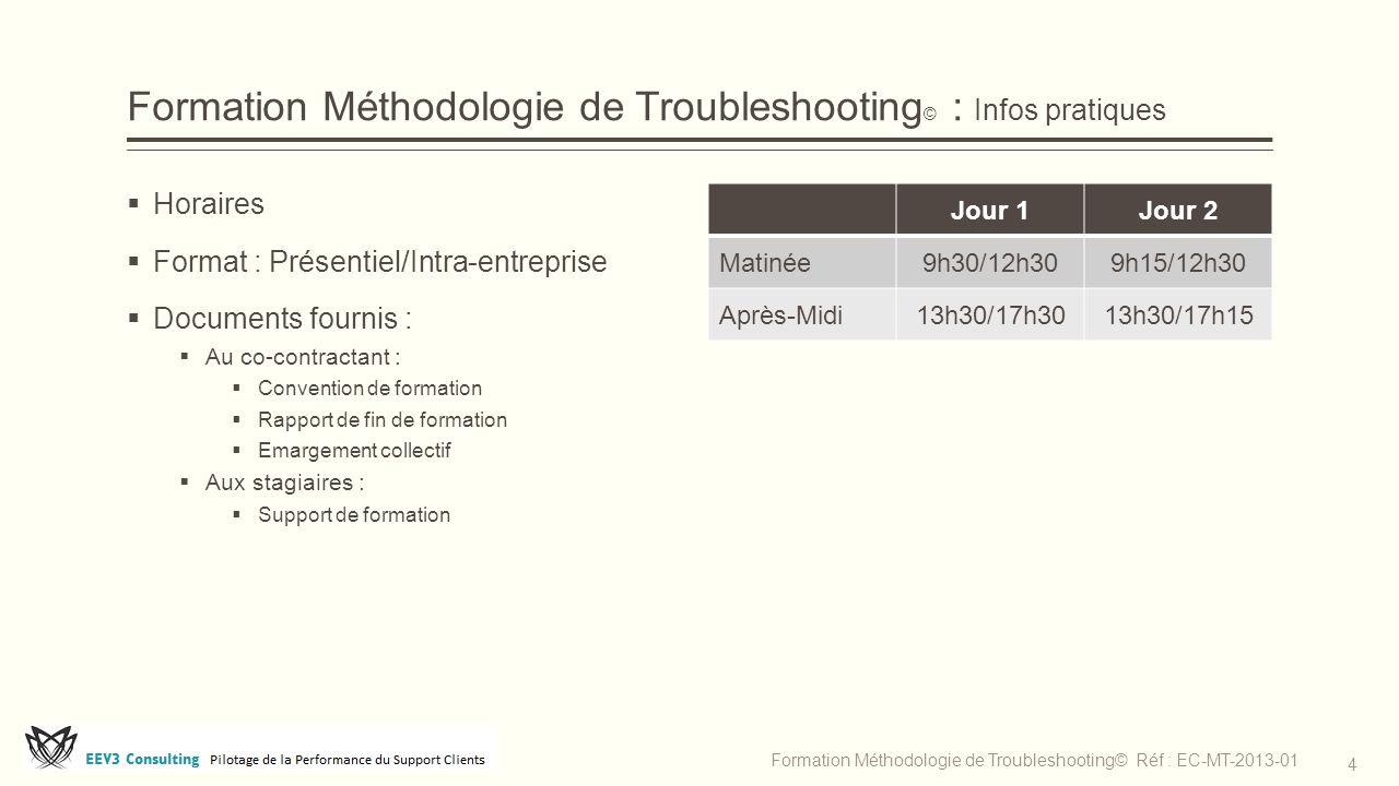 Formation Méthodologie de Troubleshooting © : Infos pratiques  Horaires  Format : Présentiel/Intra-entreprise  Documents fournis :  Au co-contract
