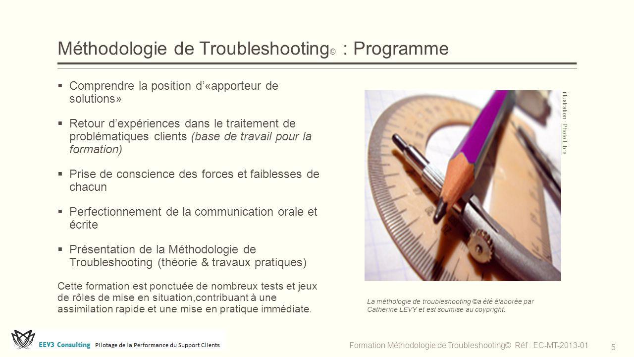 Méthodologie de Troubleshooting © : Programme  Comprendre la position d'«apporteur de solutions»  Retour d'expériences dans le traitement de problém