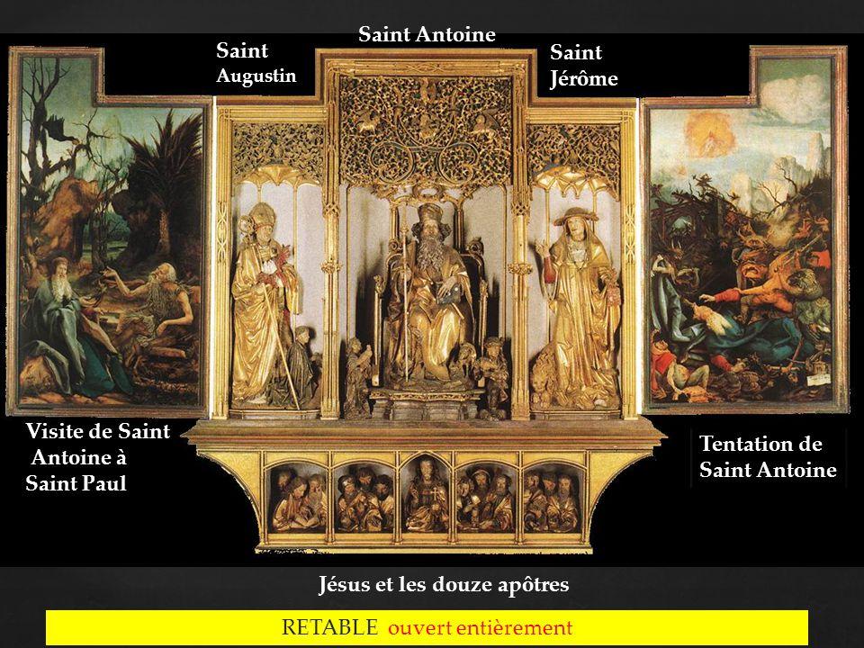 RETABLE ouvert entièrement Saint Jérôme Saint Antoine Saint Augustin Visite de Saint Antoine à Saint Paul Tentation de Saint Antoine Tentation de Saint Antoine Jésus et les douze apôtres