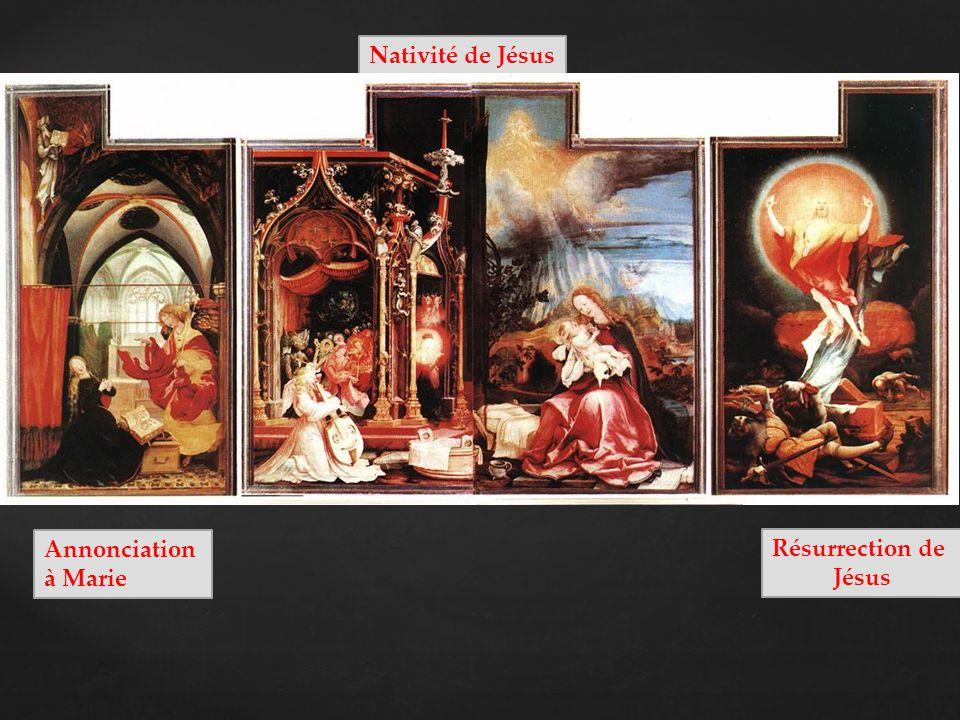 Saint Antoine Saint Sébastien RETABLE fermé Crucifixion de Jésus PREDELLE : Jésus est descendu de la croix Sainte Marie-Madeleine Sainte Marie, mère de Jésus Saint Jean