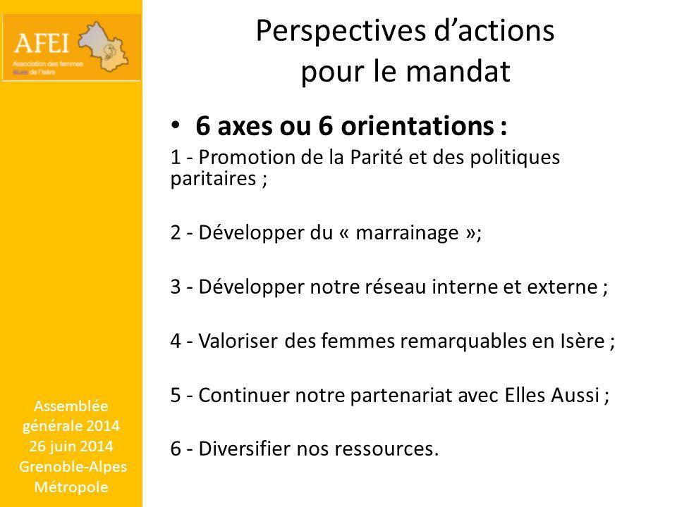Assemblée générale 2014 26 juin 2014 Grenoble-Alpes Métropole Perspectives d'actions pour le mandat 6 axes ou 6 orientations : 1 - Promotion de la Par