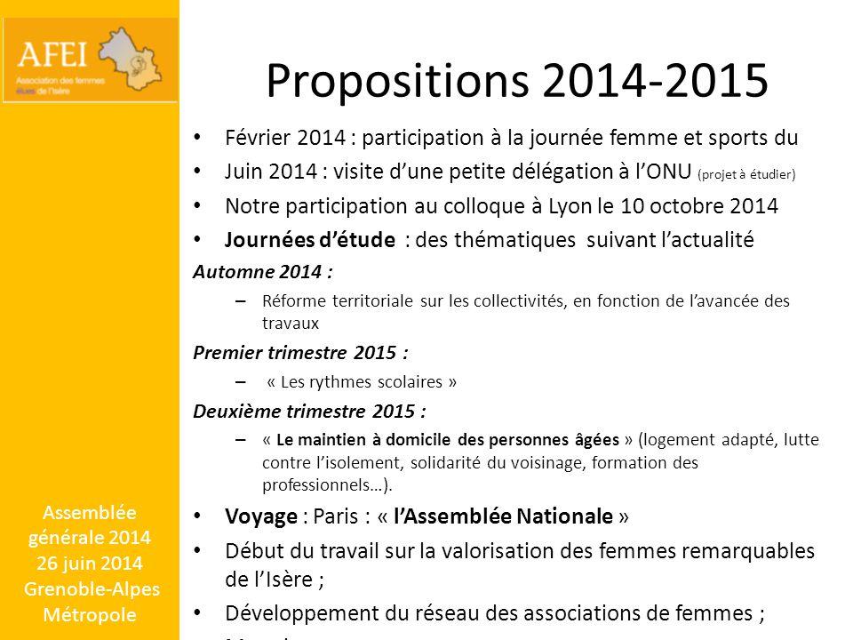 Propositions 2014-2015 Février 2014 : participation à la journée femme et sports du Juin 2014 : visite d'une petite délégation à l'ONU (projet à étudi