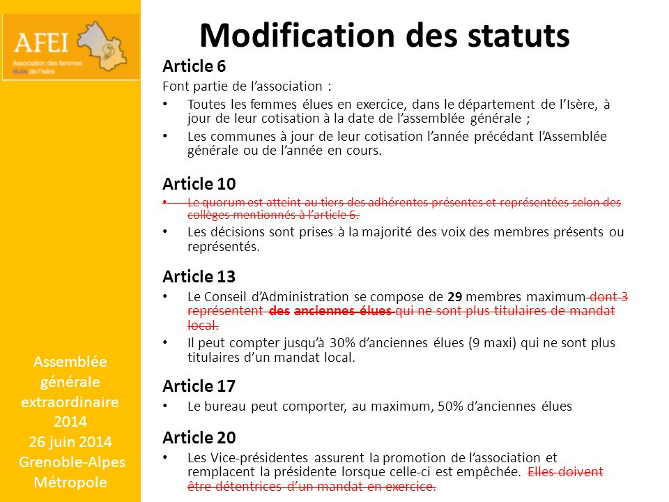 Modification des statuts Article 6 Font partie de l'association : Toutes les femmes élues en exercice, dans le département de l'Isère, à jour de leur cotisation à la date de l'assemblée générale ; Les communes à jour de leur cotisation l'année précédant l'Assemblée générale ou de l'année en cours.