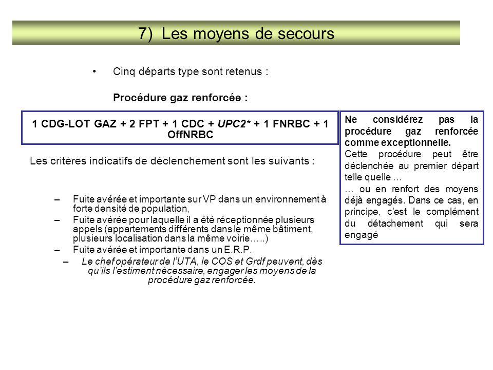 Cinq départs type sont retenus : Procédure gaz renforcée : 1 CDG-LOT GAZ + 2 FPT + 1 CDC + UPC2* + 1 FNRBC + 1 OffNRBC Les critères indicatifs de décl