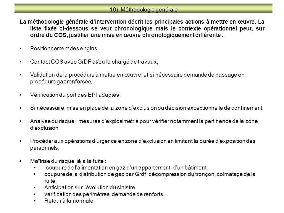 10) Méthodologie générale La méthodologie générale d'intervention décrit les principales actions à mettre en œuvre. La liste fixée ci-dessous se veut
