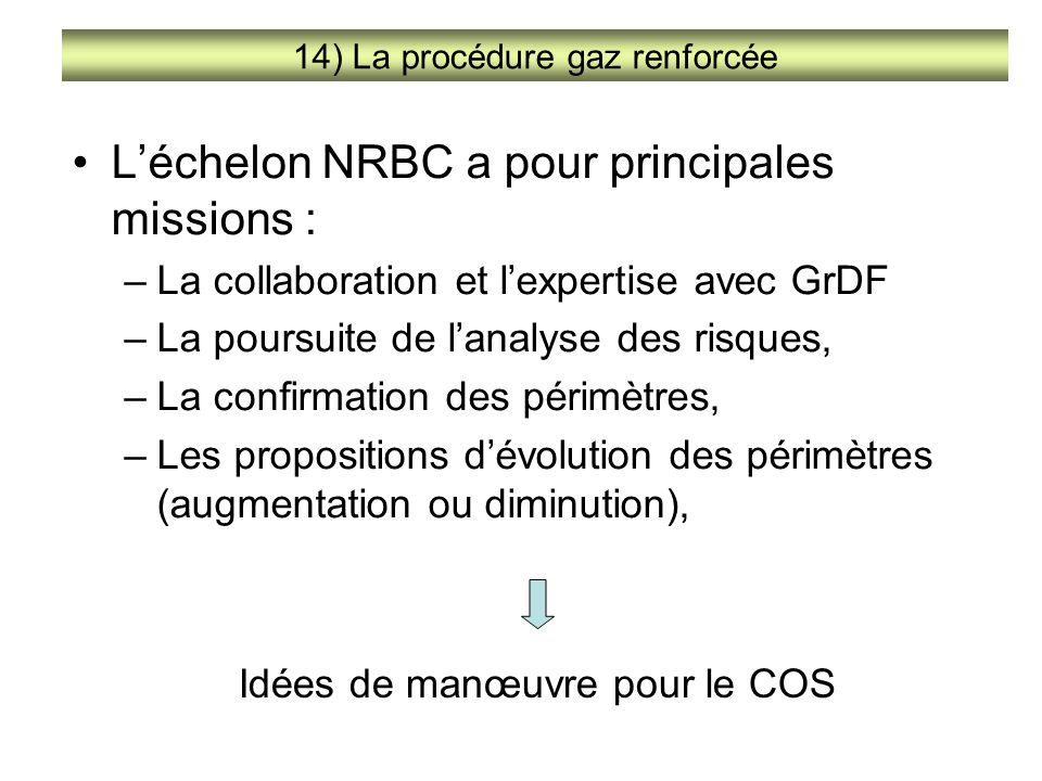 L'échelon NRBC a pour principales missions : –La collaboration et l'expertise avec GrDF –La poursuite de l'analyse des risques, –La confirmation des p