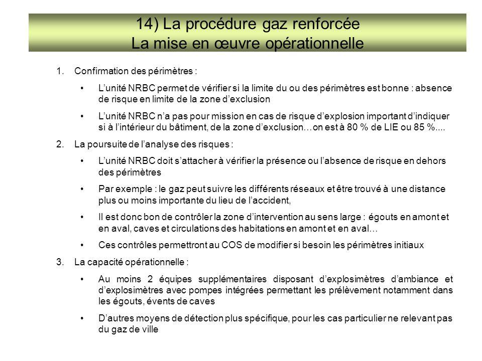 14) La procédure gaz renforcée La mise en œuvre opérationnelle 1.Confirmation des périmètres : L'unité NRBC permet de vérifier si la limite du ou des