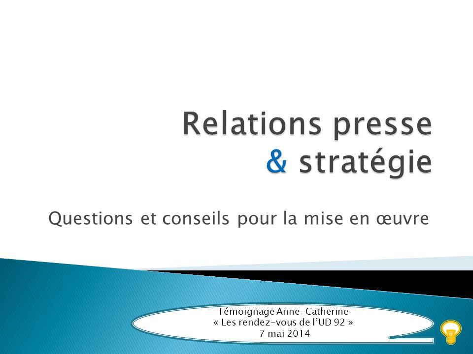 Témoigner – Échanger Intervenant : Anne-Catherine AYE T émoigner É changer C onstruire K ommuniquer Une stratégie presse à élaborer…