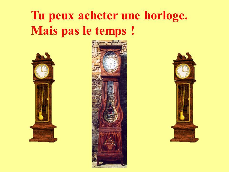 Tu peux acheter une horloge. Mais pas le temps !
