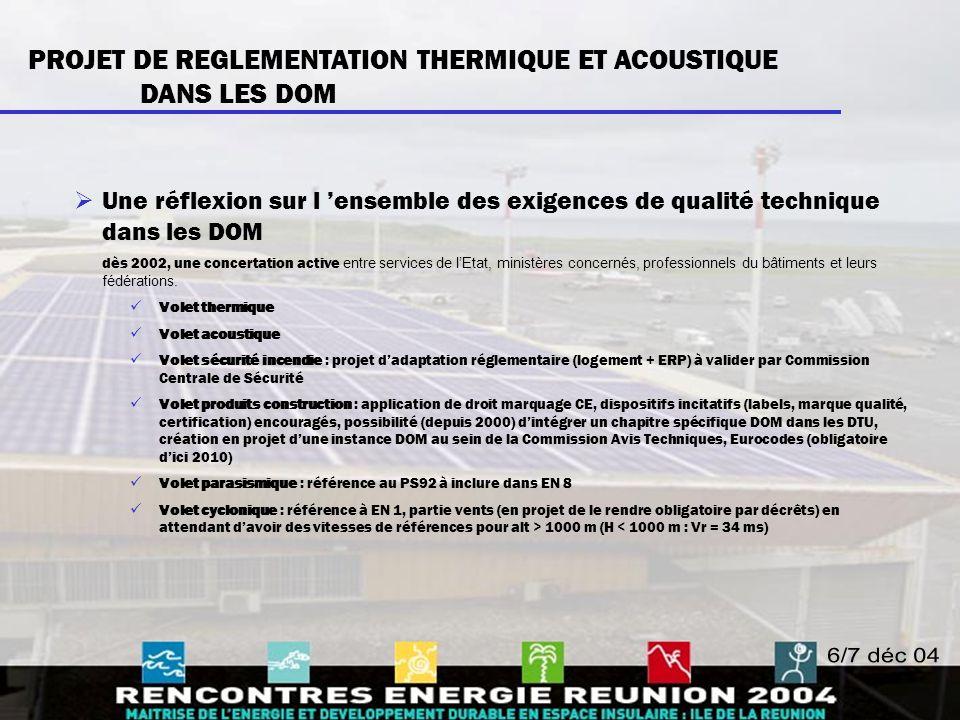 PROJET DE REGLEMENTATION THERMIQUE ET ACOUSTIQUE DANS LES DOM  Une réflexion sur l 'ensemble des exigences de qualité technique dans les DOM dès 2002