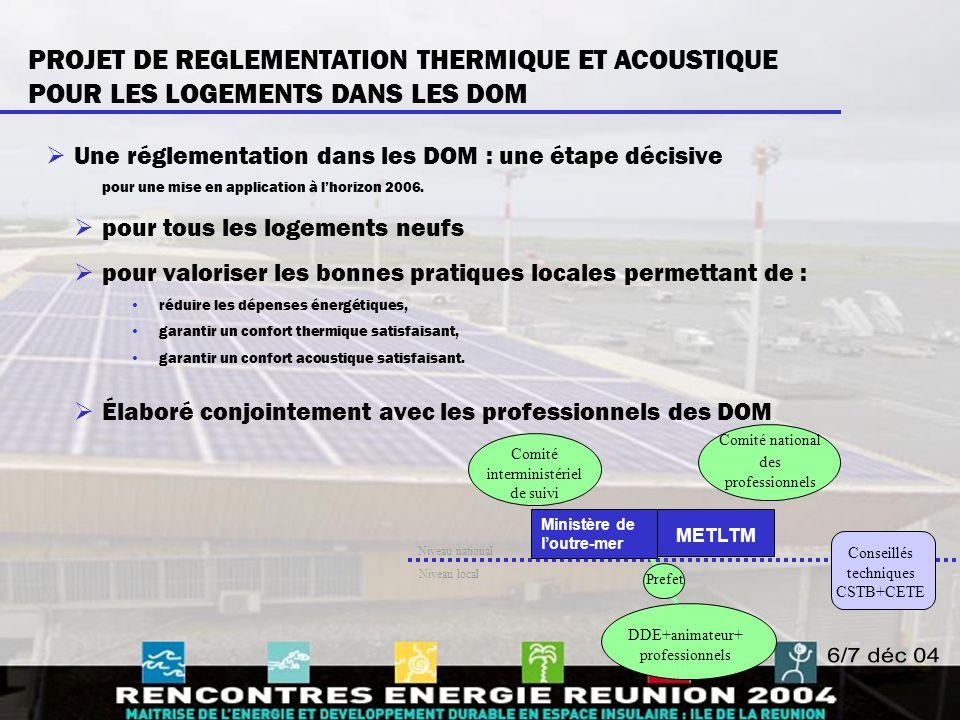PROJET DE REGLEMENTATION THERMIQUE ET ACOUSTIQUE POUR LES LOGEMENTS DANS LES DOM  Une réglementation dans les DOM : une étape décisive pour une mise
