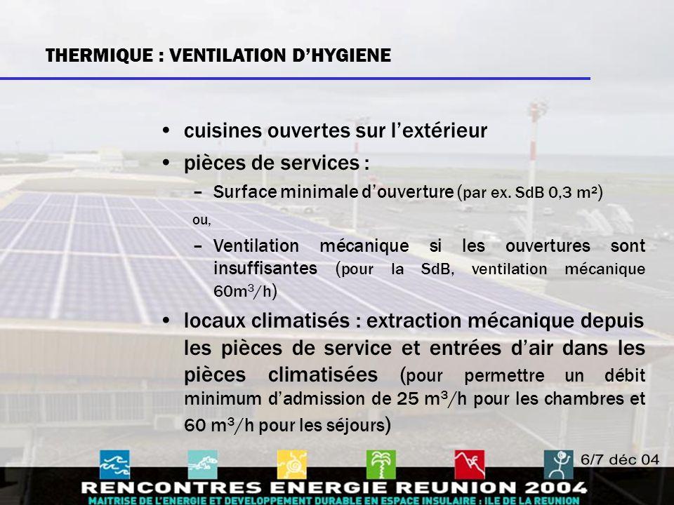 cuisines ouvertes sur l'extérieur pièces de services : –Surface minimale d'ouverture ( par ex. SdB 0,3 m² ) ou, –Ventilation mécanique si les ouvertur