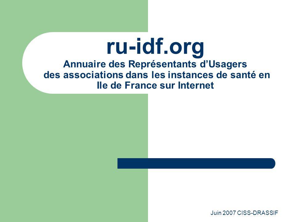 Juin 2007 CISS-DRASSIF ru-idf.org Annuaire des Représentants d'Usagers des associations dans les instances de santé en Ile de France sur Internet