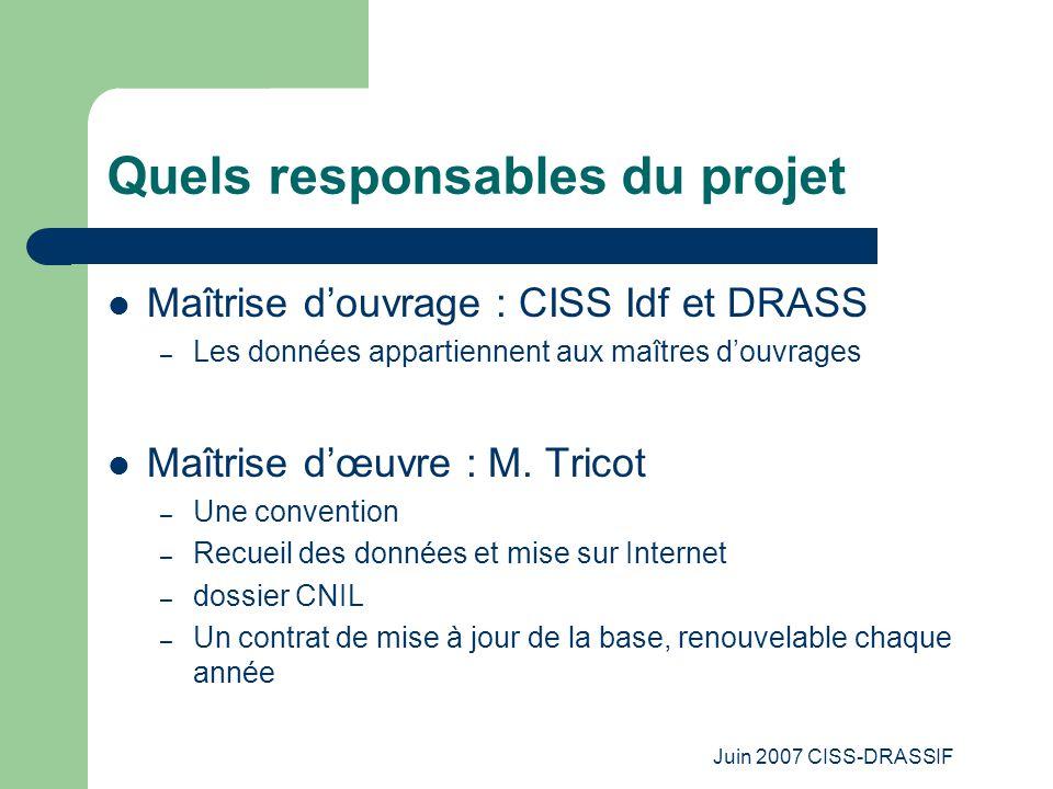 Juin 2007 CISS-DRASSIF Quels responsables du projet Maîtrise d'ouvrage : CISS Idf et DRASS – Les données appartiennent aux maîtres d'ouvrages Maîtrise d'œuvre : M.