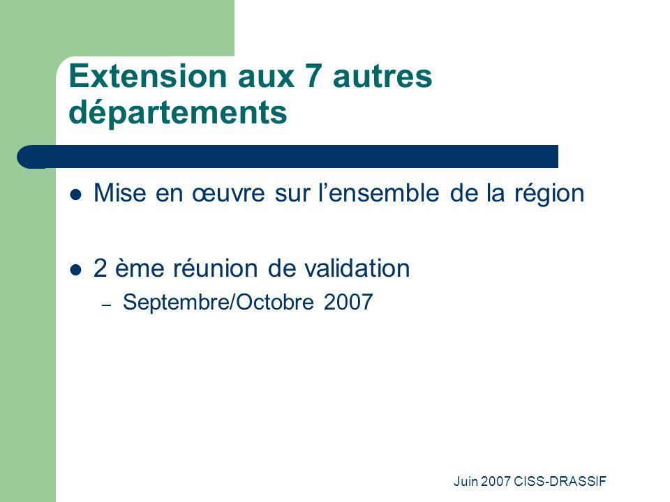 Juin 2007 CISS-DRASSIF Extension aux 7 autres départements Mise en œuvre sur l'ensemble de la région 2 ème réunion de validation – Septembre/Octobre 2007