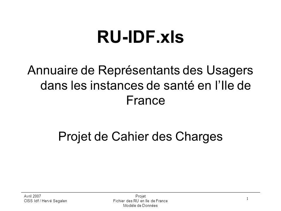 1 Avril 2007 CISS Idf / Hervé Segalen Projet Fichier des RU en Ile de France Modèle de Données RU-IDF.xls Annuaire de Représentants des Usagers dans l