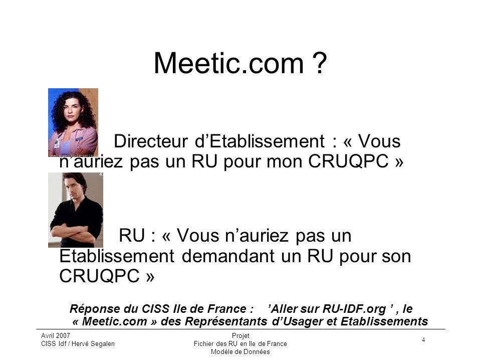 4 Avril 2007 CISS Idf / Hervé Segalen Projet Fichier des RU en Ile de France Modèle de Données Meetic.com .