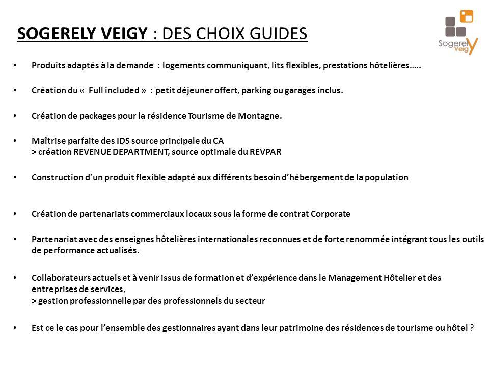 SOGERELY VEIGY : DES CHOIX GUIDES Produits adaptés à la demande : logements communiquant, lits flexibles, prestations hôtelières…..