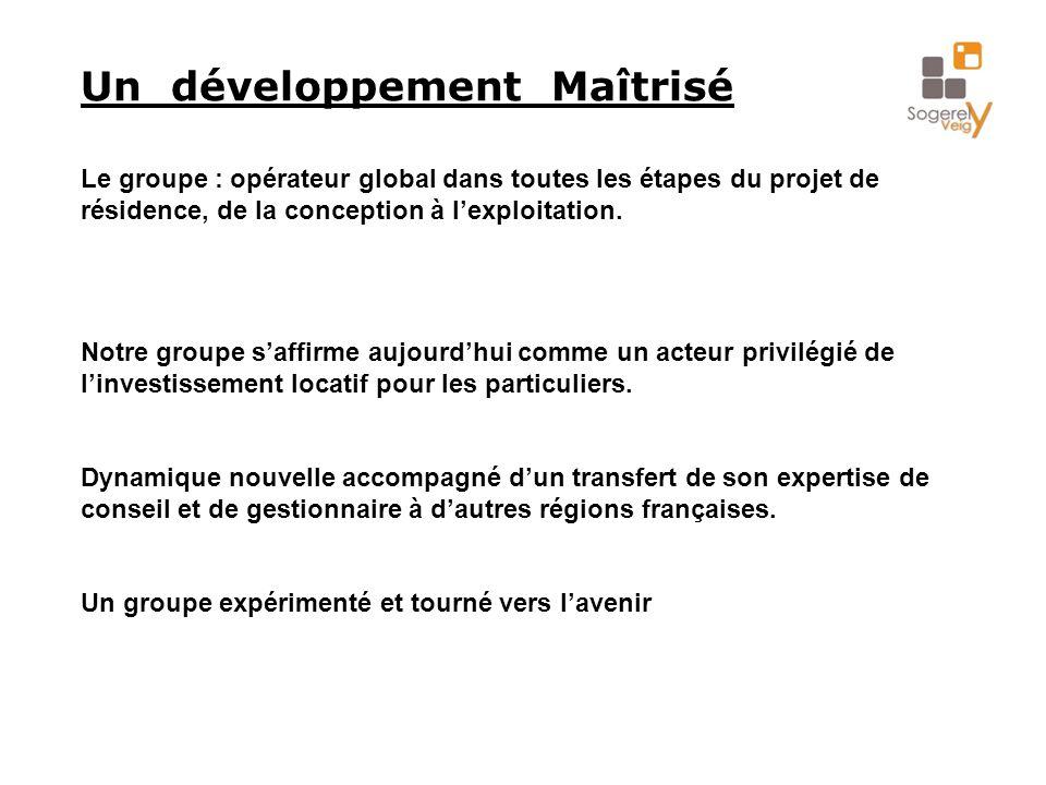 Un développement Maîtrisé Le groupe : opérateur global dans toutes les étapes du projet de résidence, de la conception à l'exploitation. Notre groupe