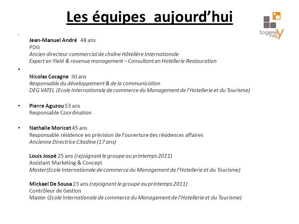 Les équipes aujourd'hui Jean-Manuel André 48 ans PDG Ancien directeur commercial de chaîne Hôtelière Internationale Expert en Yield & revenue manageme