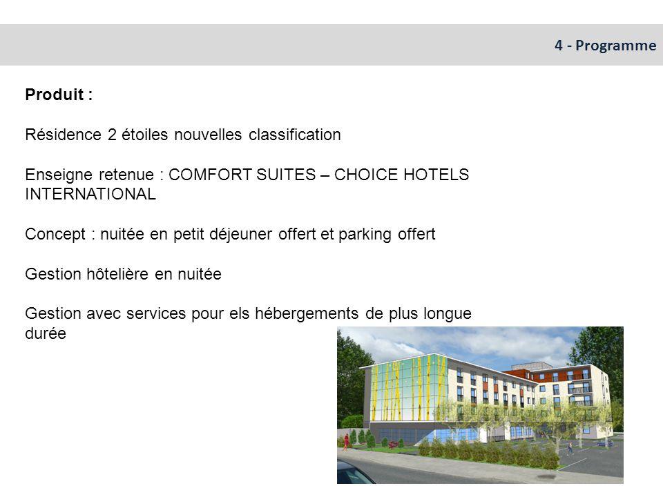 4 - Programme Produit : Résidence 2 étoiles nouvelles classification Enseigne retenue : COMFORT SUITES – CHOICE HOTELS INTERNATIONAL Concept : nuitée