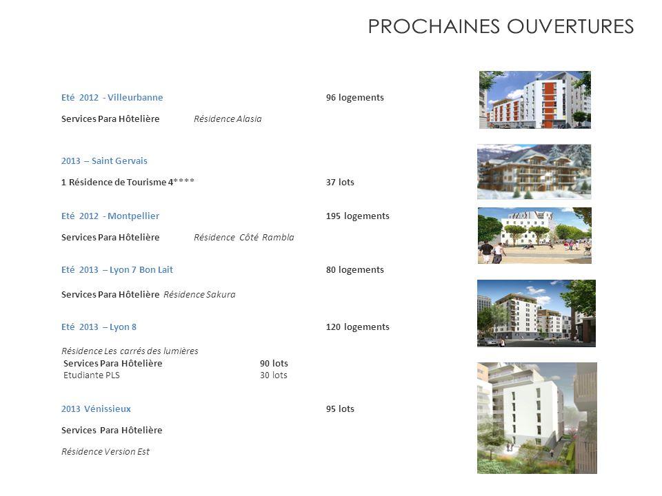 Eté 2012 - Villeurbanne 96 logements Services Para HôtelièreRésidence Alasia 2013 – Saint Gervais 1 Résidence de Tourisme 4**** 37 lots Eté 2012 - Mon