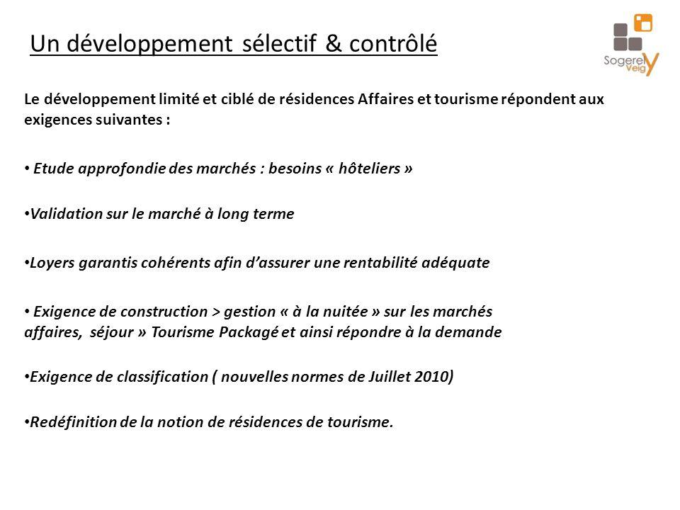 Un développement sélectif & contrôlé Le développement limité et ciblé de résidences Affaires et tourisme répondent aux exigences suivantes : Etude app