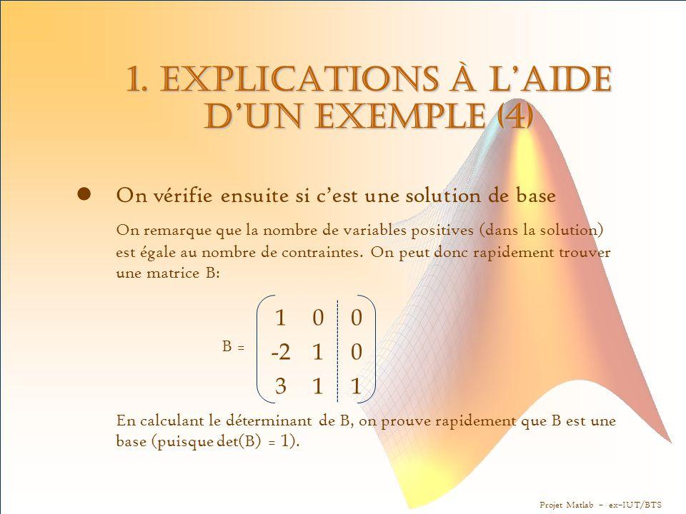 Projet Matlab – ex–IUT/BTS 1. Explications à l'aide d'un exemple (4) On vérifie ensuite si c'est une solution de base On remarque que la nombre de var