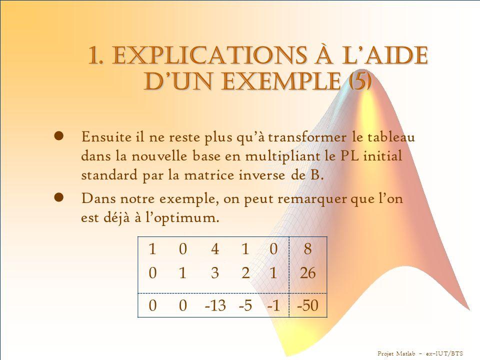 Projet Matlab – ex–IUT/BTS 1. Explications à l'aide d'un exemple (5) Ensuite il ne reste plus qu'à transformer le tableau dans la nouvelle base en mul