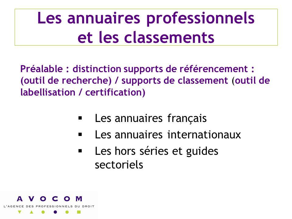 Les annuaires professionnels et les classements  Les annuaires français  Les annuaires internationaux  Les hors séries et guides sectoriels Préalab