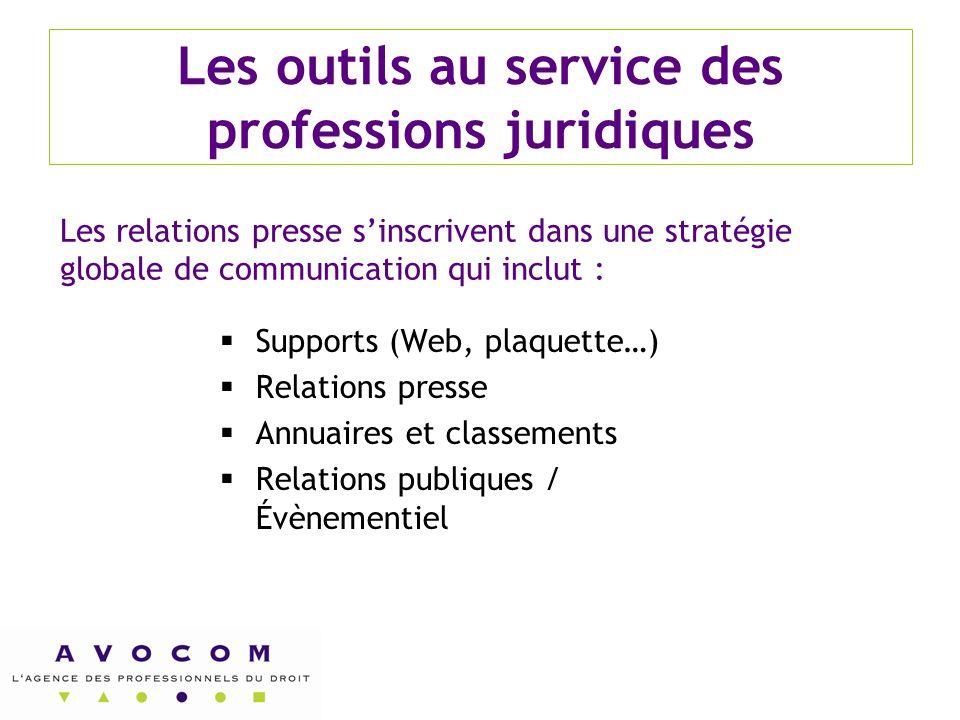 Les outils au service des professions juridiques  Supports (Web, plaquette…)  Relations presse  Annuaires et classements  Relations publiques / Év