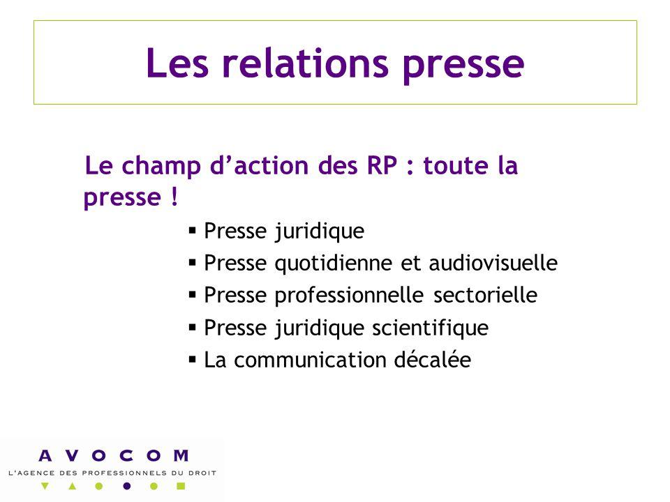 Les relations presse Le champ d'action des RP : toute la presse !  Presse juridique  Presse quotidienne et audiovisuelle  Presse professionnelle se
