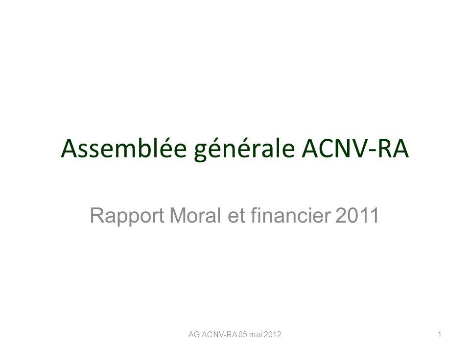 Assemblée générale ACNV-RA Rapport Moral et financier 2011 AG ACNV-RA 05 mai 20121