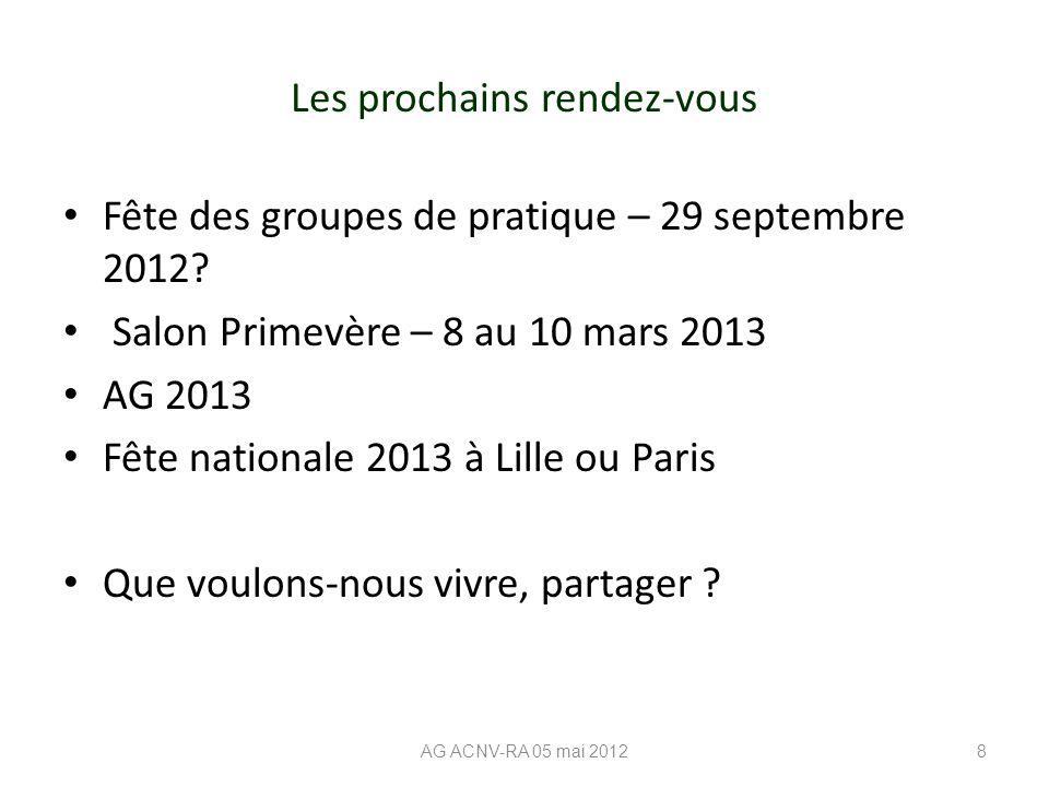 Les prochains rendez-vous Fête des groupes de pratique – 29 septembre 2012? Salon Primevère – 8 au 10 mars 2013 AG 2013 Fête nationale 2013 à Lille ou